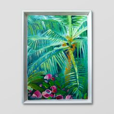 Original Oil Painting on canvas thick paint tropical palm tree flowers roses oasis rainforest holiday vibes bright blue sky green Palm Tree Flowers, Palm Trees, Small Paintings, Oil Painting On Canvas, Oasis, Tropical, Bright, Sky, The Originals