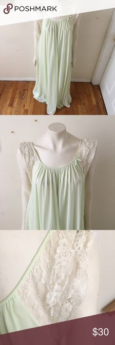 Vintage lingerie night gown mint green Stunning vintage night gown, soft and flowy with delicate lace trim. Mint green, small signs of wear on the bottom near the lace but otherwise in beautiful condition. Best fits a women's M but will fit a small or a small-busted large Vintage Intimates & Sleepwear Chemises & Slips