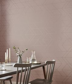 A delicate blush backdrop highlighted with clean angular rose gold lines. Rose Gold Wallpaper, Home Wallpaper, Balance Design, Brown Paint, Graham Brown, Design Moderne, Blush Roses, Wall Colors, Wall Design