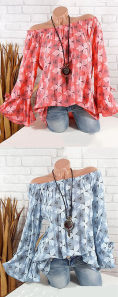 UP TO 51% OFF! Casual Printed Off Shoulder Flare Sleeve Blouse For Women. SHOP NOW!
