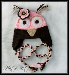 pink owl crocheted hat