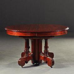 Antieke tafels / Mahonie Coulissetafel ca. 1860 een blikvanger van ruim 4 m. lang (No-180409)