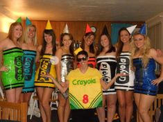 Crayola Crayons A great costume, especially if you want to dress up as a group. Just grab a tube dress and some random dude who wants to be the crayon box ;) Have a dog? Grab him a crayon costume, too.
