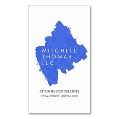 Blue Brush Strokes Professional Business Card Template for Attorneys or Lawyers - easy to personalize