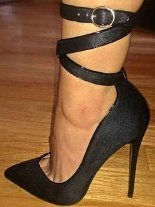 1eb75fc93520 Black High Heels Pointed Toe Stiletto Heel Ankle Strap Women s Pumps