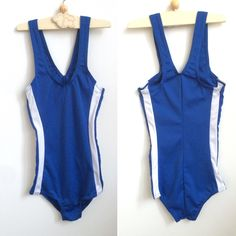 773c65391d296 Swimsuit from the 90s, Girl's Vintage Suit in Royal Blue 6T - 8T,  Scandinavian Kid's Retro Sporty Blue Bathing Suit with White Stripes