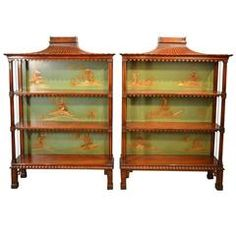 Magnificent and Decorative Pair of Chinese Chippendale Open Bookcases
