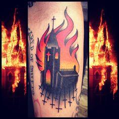 burning church flash tattoo - Google Search