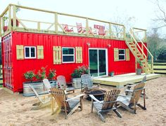 This 40 ft eye-catching tiny shipping container home located outside Houston, Texas. Rustic Retreat XL is a spacious container house built by an engineer Storage Container Homes, Container House Plans, Container House Design, Tiny House Design, Cargo Container, Tiny House Big Living, Tiny House Cabin, Small House Plans, Tiny Houses