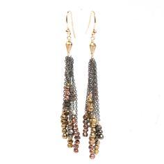 Avindy Rose Gold Pyrite Tassel Earrings