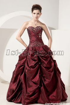 1st-dress.com Offers High Quality Burgundy Simple Quinceanera Dresses Discount,Priced At Only US$175.00 (Free Shipping)