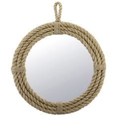 Round Nautical Rope Mirror with Hanging Loop