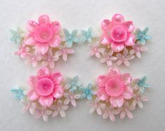 Vintage Flower Cabochon Pink Bouquet Painted Celluloid Plastic Japan 20x15mm pcb0194 (4)