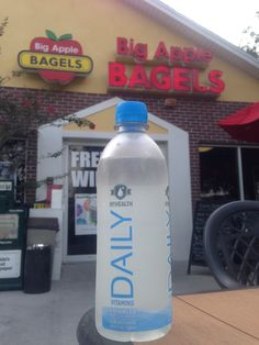 Now available at #bigapplebagels! Have you taken your #vitamins today? #myhealthwater