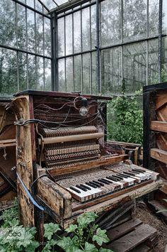"destroyed-and-abandoned: "" stephanocardona: "" Abandoned piano by Karolien Link…"