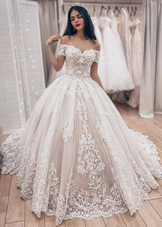 Ball Gown Off The Shoulder Wedding Dress With Lace Appliques, Gorgeous Bridal Dr. Ball Gown Off The Shoulder Wedding Dress With Lace Appliques, Gorgeous Bridal Dress Princess Wedding Dresses, Bridal Wedding Dresses, Dream Wedding Dresses, Weeding Dresses, Wedding Ball Gowns, Wedding Lace, Pina Tornai Wedding Dresses, Short Girl Wedding Dress, Backless Wedding