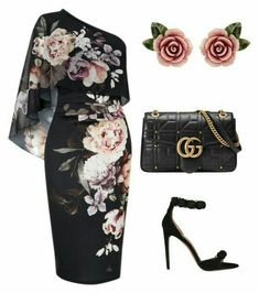 Off the shoulder floral cocktail outfit Schulterfreies Cocktail-Outfit mit Blumenmuster - Classy Outfits, Chic Outfits, Dress Outfits, Fashion Dresses, Classy Dress, Work Outfits, Fancy Dress, Summer Outfits, Dress Shoes