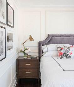 Parisian bedroom with oak nightstand--velvet headboard & millwork. Home Bedroom, Master Bedroom, Bedroom Decor, Bedroom Ideas, Glam Bedroom, Bedroom Inspiration, Feminine Bedroom, Minimal Bedroom, Bedroom Retreat