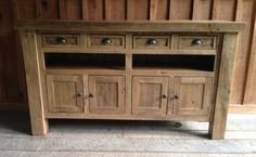 Aged Oak TV Console by 2ndCenturyFurniture on Etsy, $749.00