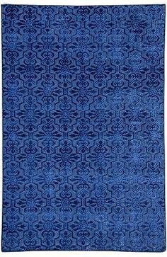 Brand New Midnight Blue Modern Rug Hand Knotted 6' x 9' Raised Viscose Carpet. Original made by the hands of skilful weavers with artistic Fashion-Forward conceptional design. It has a cotton flat woven texture with raised viscose pile to add resilience for high traffic and a plush feel. Great for traditional or modern home decor.