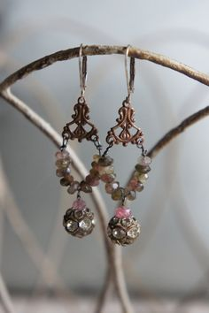Vintage assemblage earrings tourmaline gemstones designer vintage rhinestones dangle assemblage jewelry -  by French Feather Designs.
