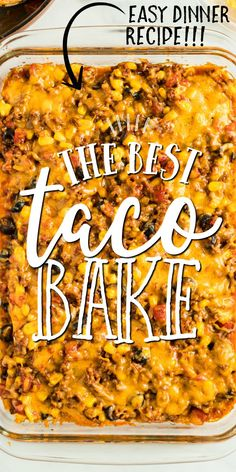 If you love Taco Tuesday, try this easy taco bake. It's a fun twist on traditional tacos. Soft flour tortillas are layered in a casserole dish with ground beef, seasoning and plenty of cheese. You'll be rewarded with a bubbling, cheesy Tex-Mex casserole. Beef Casserole Recipes, Casserole Dishes, Taco Bake Casserole, Taco Bake Recipes, Taco Casserole With Tortillas, Mexican Lasagna With Tortillas, Taco Recipe, Hamburger Casserole, Enchilada Casserole