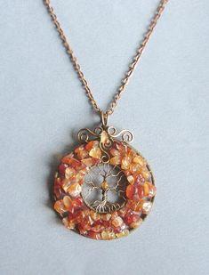 Bronze Tree of Life necklace Origination pendant Carnelian and