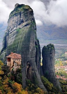"""Meteora, Greece. """"middle of the sky"""", """"suspended in the air"""" or """"in the heavens above"""" — etymologically related to """"Meteorite"""") - I was here, very rude, they made us wear skirts to enter. Fucktards. They didn't humiliate boys in any way, only us girls."""