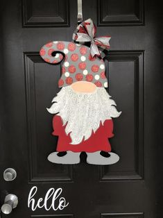 Excited to share this item from my shop: Christmas Gnome Door Hanger Christmas Wood, Christmas Time, Christmas Door Decorations, Christmas Ornaments, Christmas Knomes, Gnome Door, Door Hangers, Gnomes, Holiday Crafts