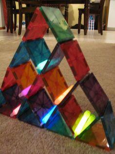 Magna-Tiles and Glow Sticks