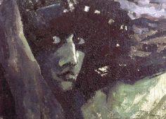 Михаил Врубель.  Голова Демона на фоне гор. 1890