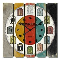 A Loja do Gato Preto   Relógio de Madeira Multicolor #alojadogatopreto