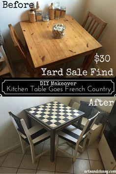 DIY Makeover : Frenc     DIY Makeover : French Country Yard Sale Kitchen Table find! Only $30 and I made it over for FREE! Learn how I did it at  www.artsandclassy...
