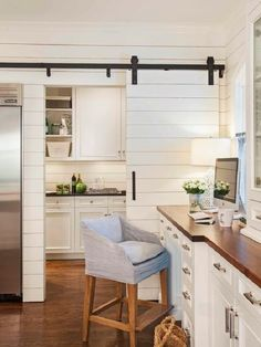 Kitchen and home office rolled into one [Design: Advanced Trendy Kitchens That Unleash the Allure of Sliding Barn Doors. Nothing says modern farmhouse like a sliding barn door and shiplap. Country Kitchen Farmhouse, Country Kitchen Designs, Modern Farmhouse, Farmhouse Style, Fresh Farmhouse, Farmhouse Kitchens, Coastal Farmhouse, Farmhouse Design, Rustic Kitchen