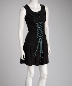 Take a look at this Black Lace-Up Dress by Uniquely Chic: Women's Apparel on #zulily today!