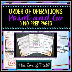 Set of 3 Printable No Prep Pages on Order of Operations Negative Numbers, Order Of Operations, Too Cool For School, Interactive Notebooks, Graphic Organizers, Math Resources, Prepping, School Ideas, Keys