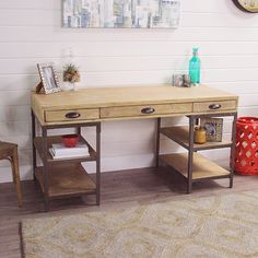 Crafted of hardwood with a lightly distressed finish and metal with rivet details, our mixed material home desk is the perfect combination of style and storage. It offers four open shelves, three spacious drawers with retro library pulls and a wide work surface, all in one compact space.