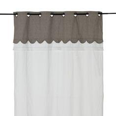 Rideau à œillets 135x250cm blanc et gris - Monteux - Rideaux-Textiles, Tapis-Salon, Salle à manger-Par pièce - Décoration intérieur - Alinea