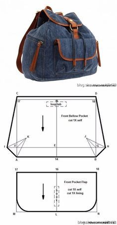 Do-it-yourself fabric backpack pattern- Рюкзак из ткани своими руками выкройка Do-it-yourself fabric backpack pattern, # pattern # hands # your # t - Jean Crafts, Denim Crafts, Denim Backpack, Denim Bag, Mochila Jeans, Jean Diy, Denim Handbags, Backpack Pattern, Back Bag