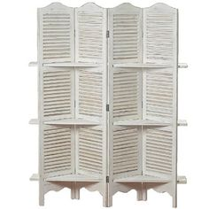 WHW Whole House Worlds Stockbridge 4 Panel White Room Divider with 3 Shelves and Louvered Shutters, Rustic White, Wood, Approximately 6 Ft Tall Shutter Shelf, Shutter Decor, Folding Closet Doors, Folding Room Dividers, Louvered Shutters, Wood Shutters, Repurposed Shutters, Furniture Makeover, Diy Furniture