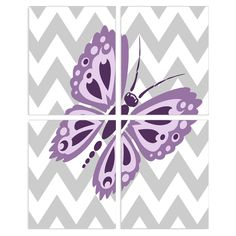 Stupell Decor Purple Butterfly Wall Plaque - Set of 4 - BRP-1624_WD_4PC_8X10