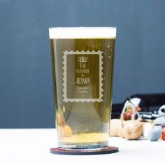 Engraved Pint Glass - 1st Class Beer