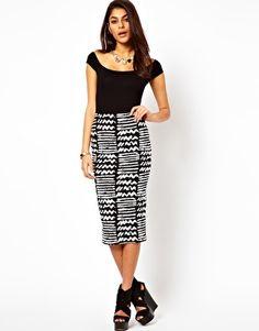 ASOS Pencil Skirt in Monochrome Print