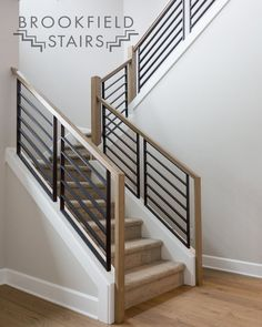 Modern metal balusters on knee wall. Staircase Railing Design, Interior Stair Railing, Modern Stair Railing, Home Stairs Design, House Design, Railings For Stairs, Modern Stairs Design, Railing Ideas, Balcony Grill Design