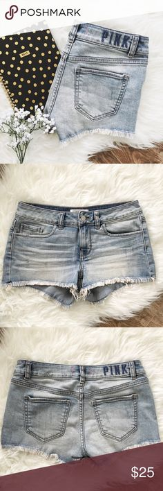"PINK vs • lightwash shortie shorts : PINK Victoria's Secret  ▫️lightwash denim shorts ▫️frayed leg openings ▫️slightly distressed all over - see pics  ▫️size: 2 ▫️measurements:                waist laying flat: 14""                inseam: 2"" ▫️condition: perfect - no flaws noted  •please see all pics, read description, and ask questions before purchasing  •no trades• PINK Victoria's Secret Shorts"