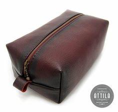 Distressed Merlot Leather Dopp kit cosmetic bag men's by ATTILAbag