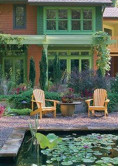Love large flowerpot table w/ Adirondack chairs