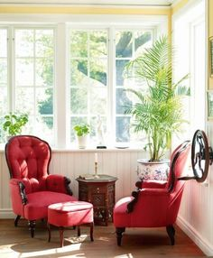 I have some red chairs similar to these...I need to make a lovely corner like this