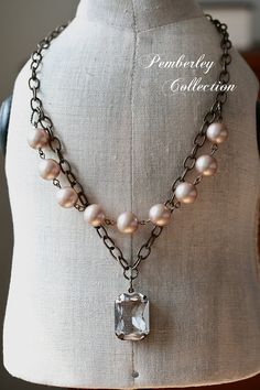 Pearl Necklace with Faceted Stone Swarovski by PemberleyCollection