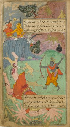 Rama slays Ravana Illustrations from a (Mughal) Persian translation of the Ramayana, 1597-1605.